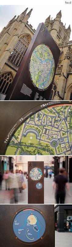 Bath City wayfinding & mapping by fwdesign. #wayfinding #map #signage www.fwdesign.com