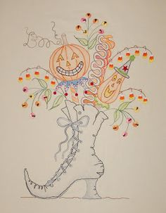 Witches Boot Embroidery