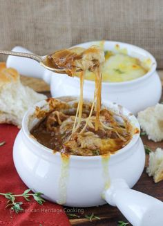 The best Homemade French Onion Soup! It has caramelized onions in a rich, homemade beef broth & 3 cheeses are broiled on top to melty, toasty perfection. Homemade French Onion Soup, Best French Onion Soup, Hamburgers, Homemade Beef Broth, Onion Soup Recipes, Onion Soups, Soup Appetizers, Baked Chicken Wings, Sandwiches