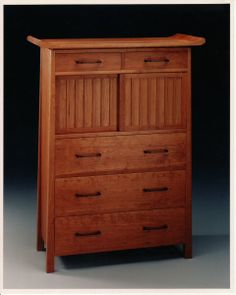 Tall Tansu Dresser - Cherry with rosewood, maple and basswood by John Reed Fox