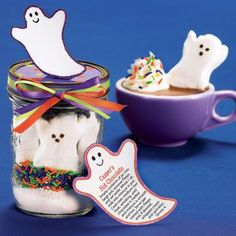 Halloween gift jar - great idea! http://www.womansworldmag.com/make-it/our-102014-issue-print-label-our-casper-s-hot-chocolate