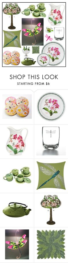 """Spring Home Set - Dragonflies"" by tlb0318 ❤ liked on Polyvore featuring interior, interiors, interior design, home, home decor, interior decorating, Portmeirion, NOVICA, Mina Victory and Primula"