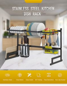 Stainless Steel Kitchen Dish Rack Organizer – DIY HOME DECOR Increase your kitchen storage space for best over the sink dish rack Keep your kitchen counter organized and drying Kitchen Rack, Kitchen Dishes, New Kitchen, Kitchen Storage, Storage Spaces, Kitchen Shelves, Cocinas Kitchen, Dish Racks, Stainless Steel Kitchen