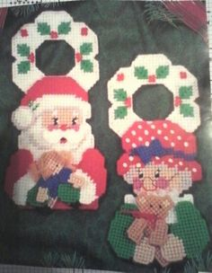 Mr & Mrs Claus DH 1/3 Plastic Canvas Tissue Boxes, Plastic Canvas Crafts, Plastic Canvas Patterns, Plastic Craft, Cute Christmas Tree, Plastic Canvas Christmas, Christmas Items, Santa Cross Stitch, Doorknob Hangers