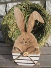 """Sweet little bunny """"kink ear"""" wooden Easter Easter bunny deco country house stripes - Frühling - Holz Summer Crafts, Holiday Crafts, Clay Ornaments, Christmas Ornaments, Natural Wood Crafts, Easter Paintings, Diy Ostern, Rustic Crafts, Easter Bunny Decorations"""