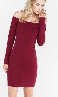 e4e3b49a89a0 berry fitted off the shoulder dress from EXPRESS XS