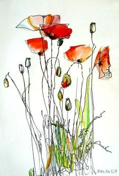 Pen and wash flowers Watercolor Poppies, Pen And Watercolor, Abstract Watercolor, Watercolor Paintings, Watercolors, Poppies Art, Watercolor Pictures, Watercolor Ideas, Watercolor Artists