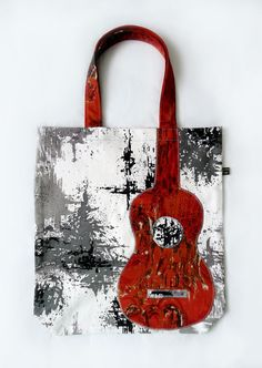 Ukulele appliqué tote bag in vintage 60s white, grey and black Pollock-esque fabric