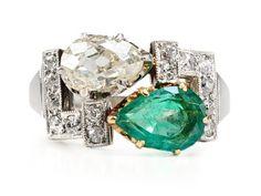 Art Deco Emerald, Yellow And White Diamond Ring