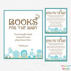 Safari Baby Shower Bring a Book Instead of a Card  by OhBabyShower