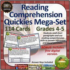 Reading Comprehension Activity Task Cards Mega Set