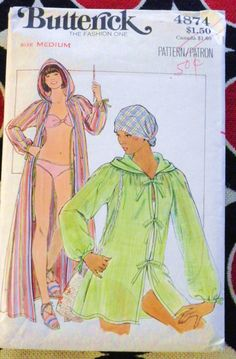 Vintage 1970s Cover-Up Pattern Butterick 4874 -Hooded Beach & Bathing Suit Cover-Up-Medium. $3.00, via Etsy.