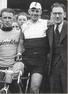Bruce Small, Hubert Opperman and Herb Elliot Snr in 1938 at the finish of a world record-breaking Kalgoorlie-to-Perth ride.