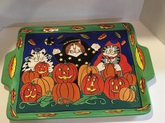 Candace Reiter Catzilla 2001 Halloween Heavy Ceramic Tray Platter w Gloss Finish Halloween Sounds, Spooky Halloween, Halloween Decorations, Halloween Stuff, Halloween Costume Props, Angel And Devil, Fall Harvest, Fall Decor, Lunch Box
