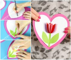Tulip in a Heart Card Paper Craft for Kids