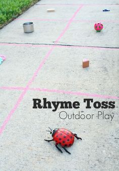 Rhyme Toss Outdoor Play for Kids.get moving with this fun way to get preschoolers thinking about rhyming words Rhyming Activities, Preschool Literacy, Kids Learning Activities, Early Literacy, Toddler Preschool, Fun Learning, Literacy Centers, Summer Activities, Toddler Activities