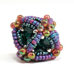 An Ionic Octahedron, from Gwen Fisher's new Ionic Polyhedra pattern at www.beadinfinitum.com. Czech glass and Japanese seed beads. Created September 2010.