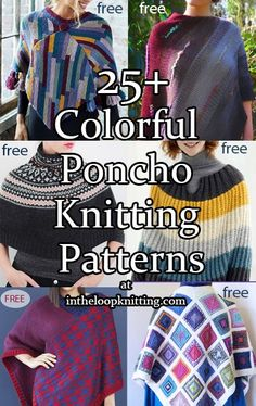 Knitting patterns for colorful ponchos with stripes, fair isle, mosaic colorwork, and more. Most patterns are free.