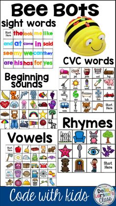 Bee Bots | Literacy | Teach literacy through coding. This resource has 5 Bee Bot mats. Sight words, cvc words, beginning sounds, rhymes, and short vowels. Cvce Words, Sight Words, Teaching Kids To Code, 21st Century Learning, Coding For Kids, Preschool Activities, Steam Activities, Phonics, Short Vowels