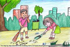 Drawing Kids Cleaning Day Scene with with color pencils through our step by step tutorial with video. Drawing Pictures For Kids, Scenery Drawing For Kids, Easy Drawings For Kids, Painting For Kids, Pictures To Draw, Clean India Posters, Hand Crafts For Kids, Kid Crafts, Save Water Poster Drawing