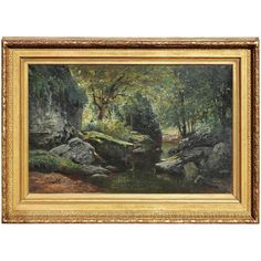 Woodland Stream Large Painting by Jean Saint-Gyr Girier, French, 19th Century | From a unique collection of antique and modern paintings at https://www.1stdibs.com/furniture/wall-decorations/paintings/