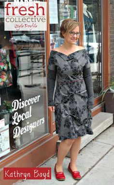 Adorable Kathryn is our neighbour in the Roncesvalles village neighbourhood and here she is in a fabulous dress from Toronto designer Connie Meyer of Studio Fresh on our Style Profile.