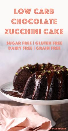 A moist and gooey keto chocolate cake filled with healthy shredded zucchini. This amazing low carb chocolate cake is the perfect dairy free keto treat to make for any holiday or dessert. A moist and gooey keto chocolate cake filled with healthy shredded z Keto Friendly Desserts, Low Carb Desserts, Low Carb Recipes, Protein Desserts, Healthy Desserts, Pork Recipes, Healthy Food, Sugar Free Chocolate Cake, Healthy Chocolate