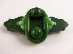 Vintage Bakelite Brooch Green Bakelite Pin by ArtNouveauGal