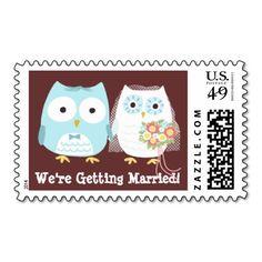 We're Getting Married Owls Wedding - Custom Postage Stamp