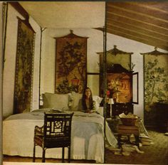 FOR PILAR~: Pauline de Rothschild's Bedroom at Chateau Mouton, also from the aforementioned Vogue and also shot by Horst