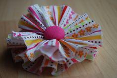 Riley Blake/Doodlebug Design Ladybug Garden Stripe Pink Fabric Flower Hair Clip