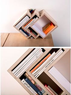 Who says the reading activity is lifeless? It is time to turn your conservative mindset into the freshest one with the 7 modern bookcase ideas. Yes, the brand-new concepts seem a bit unfamiliar for some people. Yet, trust me; it is worth a try. Shelf Furniture, Plywood Furniture, Furniture Design, Wood Projects, Woodworking Projects, Design Industrial, Modern Bookcase, Shelf Design, Wood Art