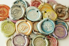 Clay *seal* monogram as scrappy accent, or for a pendant necklace or keychain