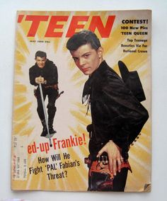May 1959 cover with eighteen-year-old Frankie Avalon Frankie Avalon, 60s Music, Celebrity Crush, Teen Magazines, Singer, Sands, Grease, History, Magazine Covers