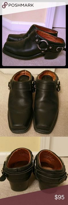 Frye Belted Harness Mule Clog Frye leather belted mule clog. Motorcycle mule style. They have been much loved, with minor scuff marks which add to the Frye charm. In excellent pre-used condition. Fit true to size. No trades. Frye Shoes Mules & Clogs