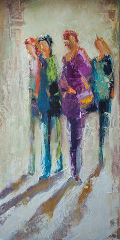 """Going Out with the Girls"" by Shelby McQuilkin Mixed media, oil painting, contemporary figurative,"