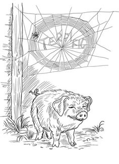 Charlotte and Wilbur coloring page from Charlotte's web category. Select from 20946 printable crafts of cartoons, nature, animals, Bible and many more.