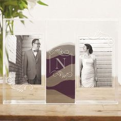 Monogrammed Clearly Love Sand Ceremony Shadow Box with Photo Frames and Etched Single Initial  #wedding #ceremony