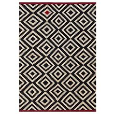 Nanimarquina Melange Pattern 1 Rug ($2,441) ❤ liked on Polyvore featuring home, rugs, black and white rug, red wool rug, black white rug, diamond pattern rug and border area rugs