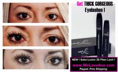 Get THICK GORGEOUS eyelashes with NEW Saba Lustre 3D Lash Mascara ! weloveace.com Free shipping. Paypal. While you are there..checkout the Saba Tranzform Body Wraps and/or Saba ACE natural Diet pills. You will be set !!! Click pic to buy ! #sabalash #sabaace #sabalashfreeshipping
