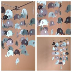 Elephant Mobile by MadeByKatee. This shop has a terrific variety of handcrafted mobiles!