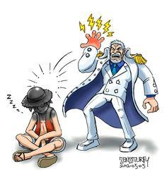 Luffy y Garp a ver si me pegas abuelo =)