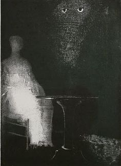 "Odilon Redon, ""I saw above the misty outline of a human form""."