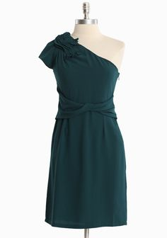"""Finding Grace Dress By MM Couture 74.99 at shopruche.com. This deep blue-green dress by MM Couture is accented with gathered detail and vintage charm. Finished with a side zipper closure and a flattering silhouette. Fully lined.  Self: 97% Polyester, 3% Spandex, Lining: 100% Polyester, Imported, 34"""" length from top of shoulder"""