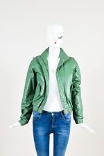 Ulla Johnson Green Leather Button Zip Up Long Sleeve Moto Jacket SZ P