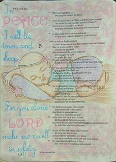 Psalm 4:8 - There's just something about a sleeping baby. Bible art journaling by @peggythibodeau www.peggyart.com