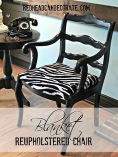 Blanket Reupholstered Chair Redheadcandecorate.com #reupholstered chair #recycled blanket