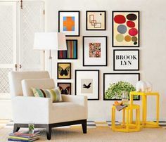 Make a gallery wall of family photos and other small pictures in corresponding frames For Home Decorating