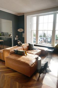 Tan sofa blue green grey wall