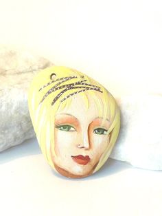 Painted stone pendant original handmade painting on by sabiesabi